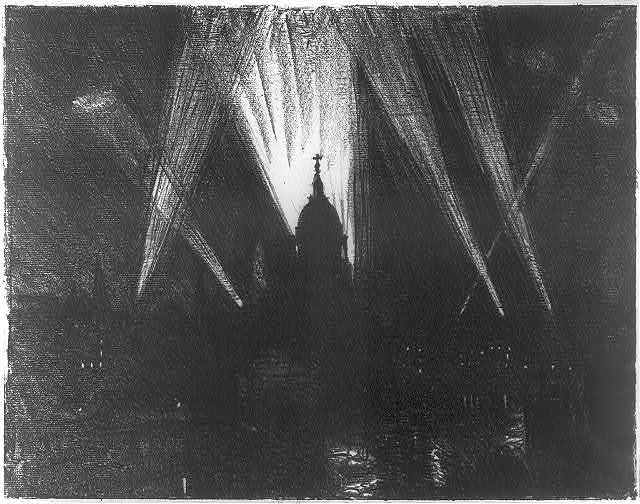 Searchlights behind St. Paul's