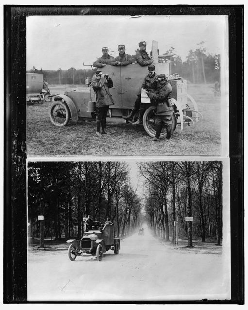 [Soldiers looking at map by armored car ; Armored cars on road, probably in France]