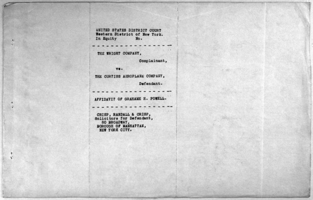 Subject File:  Legal Cases--Wright Co. v. Curtiss Aeroplane Co.--Affidavits: Miscellaneous, H-P, 1914-1915