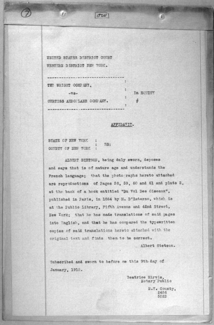 Subject File:  Legal Cases--Wright Co. v. Curtiss Aeroplane Co.--Affidavits: Miscellaneous, S-W, 1914-1915