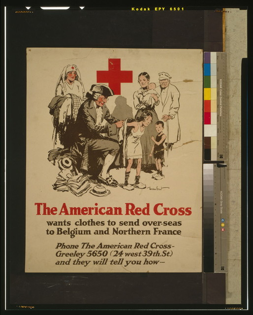 The American Red Cross wants clothes to send over-seas to Belgium and Northern France Phone the American Red Cross - Greeley 5650 (24 west 39th. St.) and they will tell you how / / Gordon Grant.