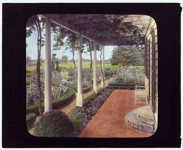 "[""The Appletrees,"" Henry Eugene Coe house, Southampton, New York. View from porch]"