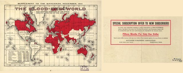 The blood-red world : map showing territory of the Earth directly affected by the Great War.