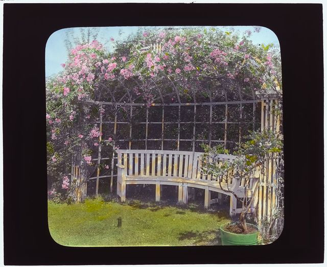 "[""The Fens,"" Lorenzo Easton Woodhouse house, Huntting Lane, East Hampton, New York. Bench]"