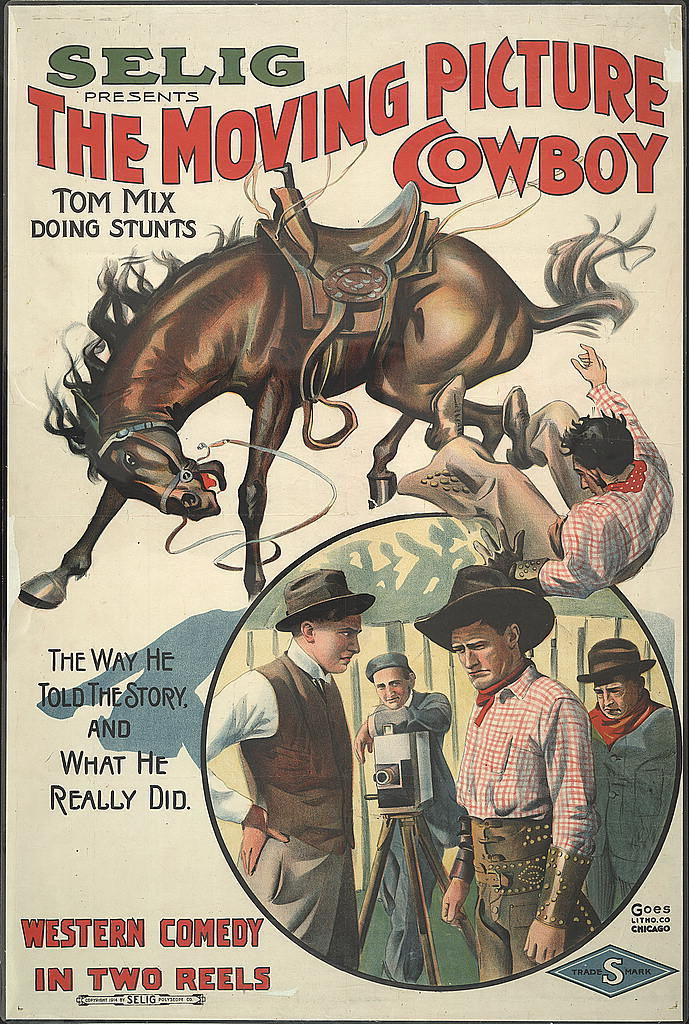 The moving picture cowboy Tom Mix doing stunts. The way he told the story, and what he really did.