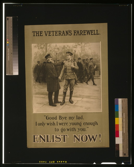 The veteran's farewell. Enlist now! / Frank Dadd 1914 ; Printed by Petty & Sons (Leeds) Ltd., Leeds & London.