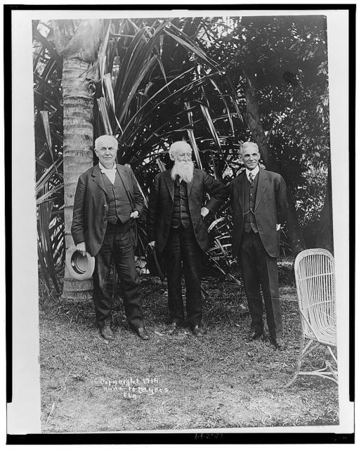 [Thomas Edison, John Burroughs, and Henry Ford, full-length portrait, standing, facing front, at Edison's home in Ft. Myers, Florida]