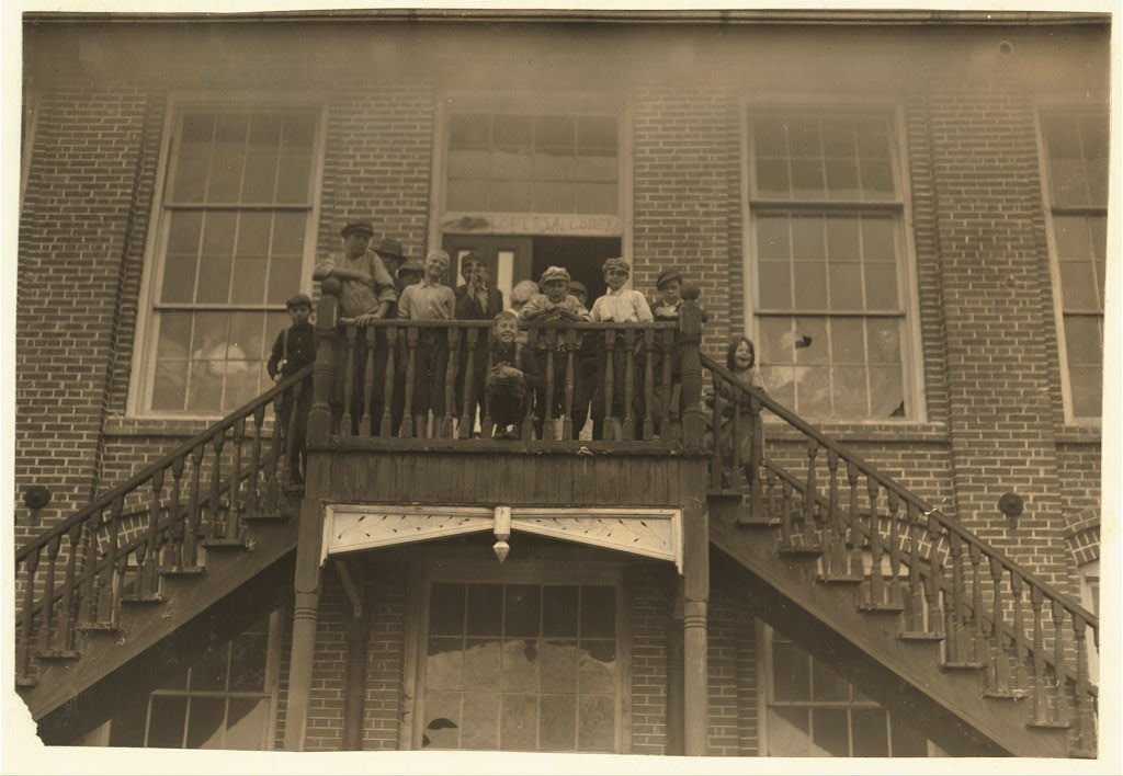[Tolar, Hart and Holt Mills. All the children went in when the whistle blew, and I saw most of them at work the next day when I went through the spinning room at 10 A.M. Some of them are surely under 12 years old.]  Location: [Fayetteville, North Carolina]