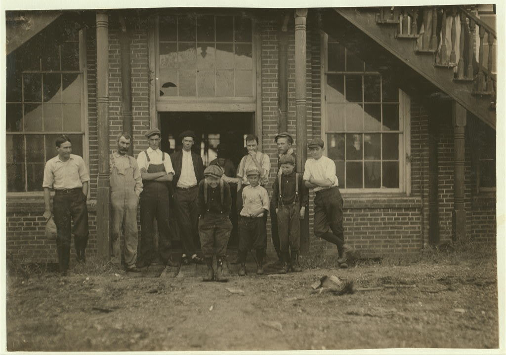 [Tolar, Hart and Holt Mills. All the children went in when the whistle blew, and I saw most of them at work the next day when I went through the spinning room at 10 A.M. Some of them are surely under 12 years old.]  Location: Fayetteville, North Carolina.