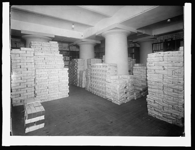 Treasury Dept. Internal Revenue Bureau, Overflow vault for storage of Internal Revenue stamps. Stamps kept on hand to value of $110,000,000, [1914]