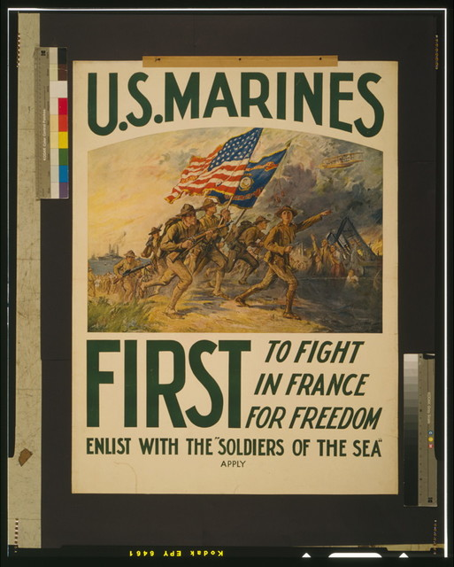 "U.S. Marines - first to fight in France for freedom Enlist with the ""soldiers of the sea"" / / F.C. Yohn."