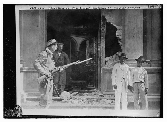 "Vera Cruz -- Front door of Naval Academy bombarded by ""CHESTER"" & ""PRAIRIE"""