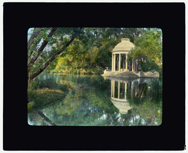 "[""Weld,"" Larz Anderson house, 151 Newton Street, Brookline, Massachusetts. Temple in water garden]"