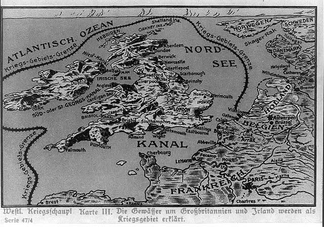 Westl. Kriegsschaupl. Karte III. Die Gewässer um Groszbritannien und Irland werden als Kriegsgebiet erklärt