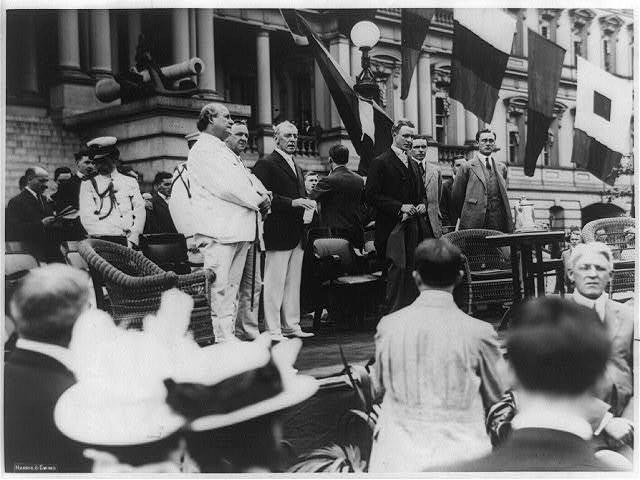 Woodrow Wilson and some of his associates: William J. Bryan, Josephus Daniels, Breckinridge Long, William Phillips, and Franklin D. Roosevelt - photo. taken at the State Department, June 14, 1914