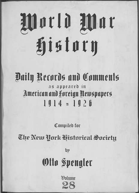 World War history : daily records and comments as appeared in American and foreign newspapers, 1914-1926 (New York), October 19, 1914, (1914 October 19-23)