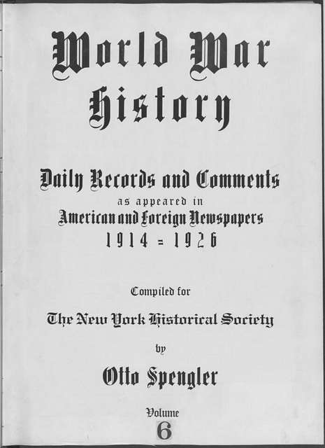 World War history : daily records and comments as appeared in American and foreign newspapers, 1914-1926 (New York), August 14, 1914, (1914 August 14-17)