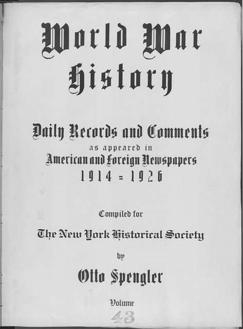 World War history : daily records and comments as appeared in American and foreign newspapers, 1914-1926 (New York), December 20, 1914, (1914 December 20-22)