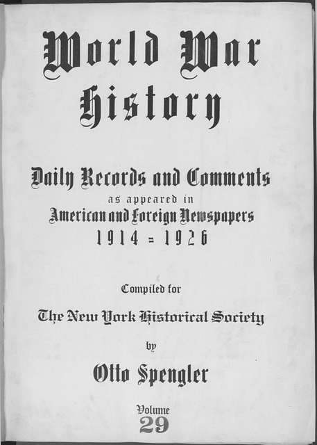 World War history : daily records and comments as appeared in American and foreign newspapers, 1914-1926 (New York), October 23, 1914, (1914 October 23-29)