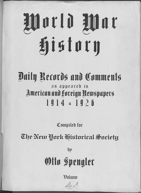 World War history : daily records and comments as appeared in American and foreign newspapers, 1914-1926 (New York), December 22, 1914, (1914 December 22-26)