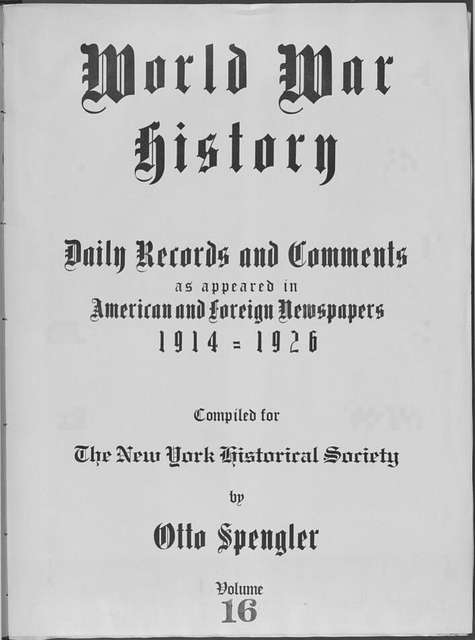 World War history : daily records and comments as appeared in American and foreign newspapers, 1914-1926 (New York), September 12, 1914, (1914 September 12-14)