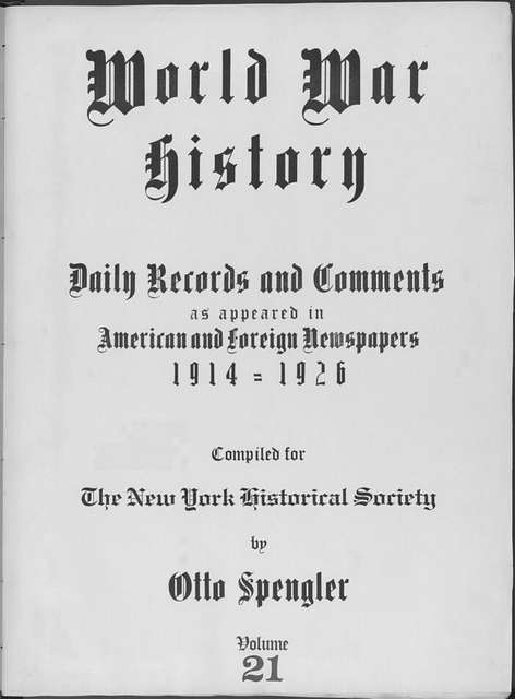 World War history : daily records and comments as appeared in American and foreign newspapers, 1914-1926 (New York), September 26, 1914, (1914 September 26-29)