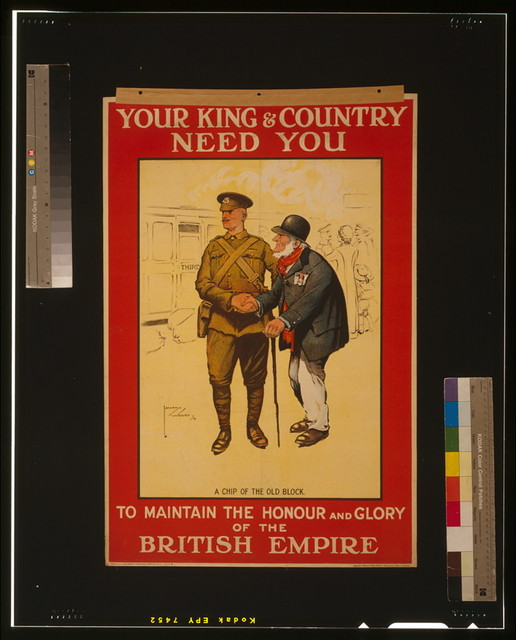Your king & country need you to maintain the honour and glory of the British Empire / Lawson Wood '14 ; Dobson, Molle & Co. Ltd., Color Printers, Edinr. & London.