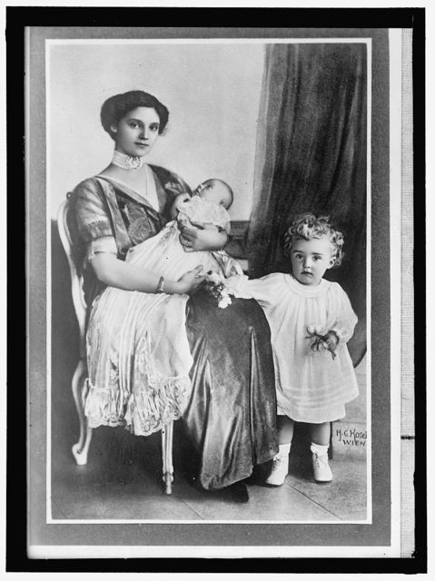 ZITA, H.R.H. EMPRESS OF AUSTRIA, BORN 1892, PRINCESS OF BOURBON AND PARMA. WITH SON, OTTO, AND INFANT