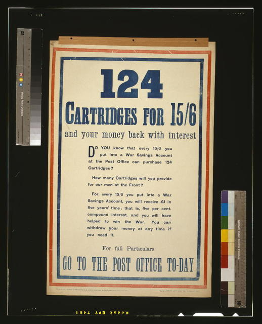 124 cartridges for 15/6 and your money back with interest / printed by Metchim & Son, London.