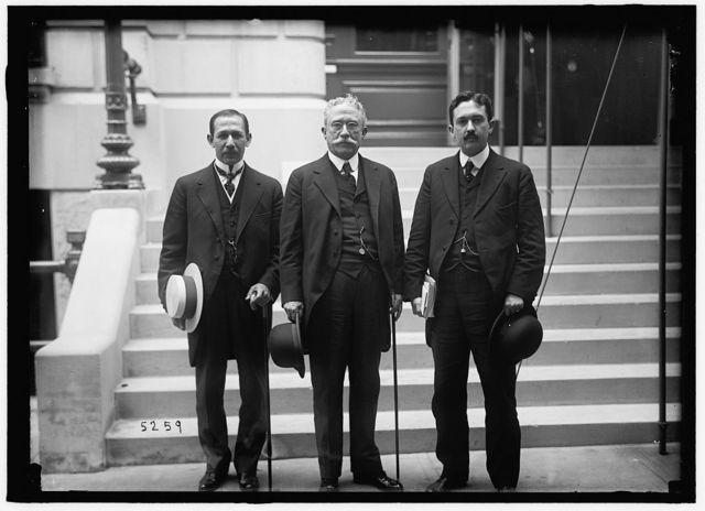 1ST PAN AMERICAN FINANCIAL CONFERENCE, WASHINGTON, D.C., MAY 1915. GENERAL CHAMORRO IN CENTER WITH PEDRO RAFAEL CUADRA AND PEDRO J. CUADRA, NICARAGUA