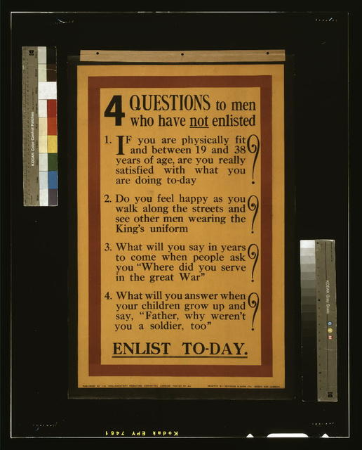 4 questions to men who have not enlisted. [...] Enlist to-day / printed by Bemrose & Sons Ltd., Derby and London.