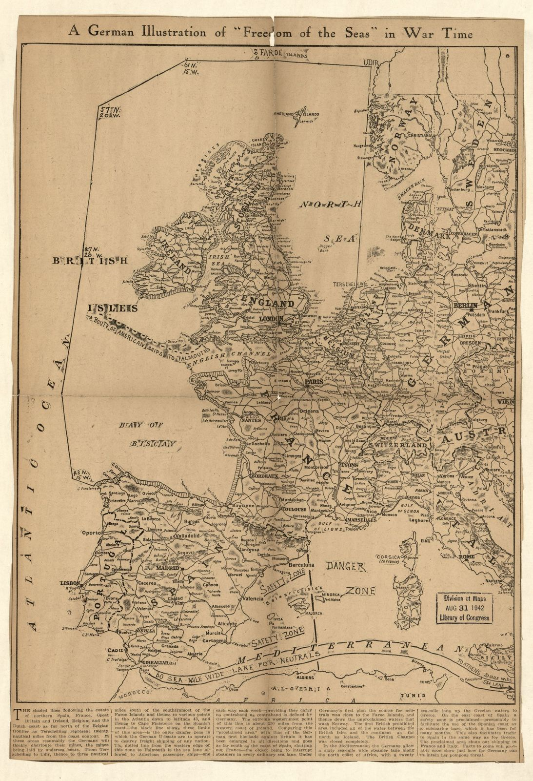 """A German illustration of """"freedom of the seas"""" in war time : [Western Europe and western Mediterranean Sea]."""