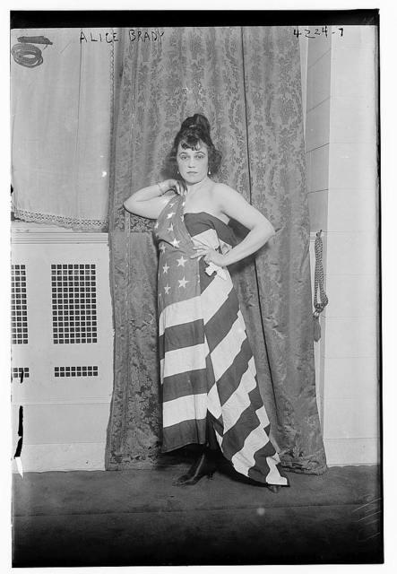 Alice Brady [draped in Old Glory]