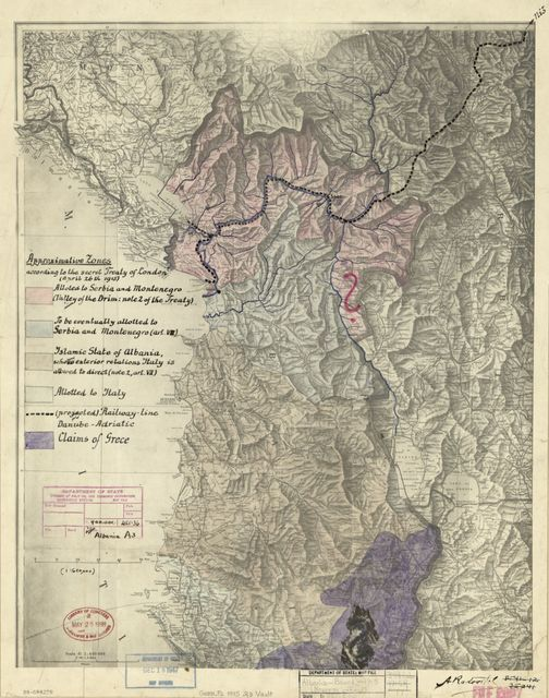 Approximative zones according to the secret Treaty of London (April 26th 1915) : [Albania] /