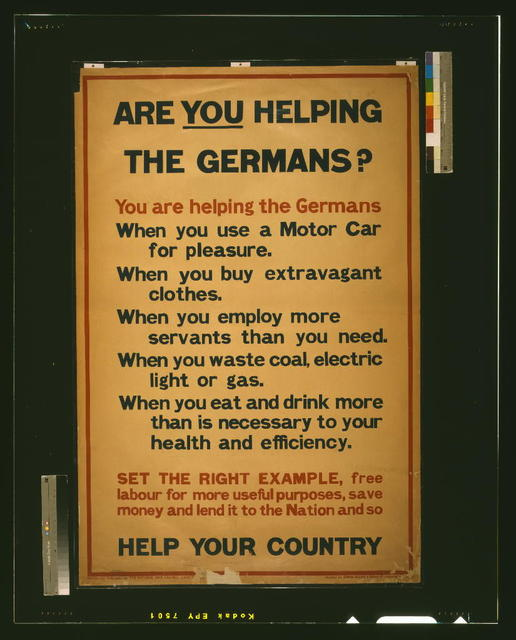 Are you helping the Germans? / printed by David Allen & Sons Ld., Harrow, M[iddlesex].