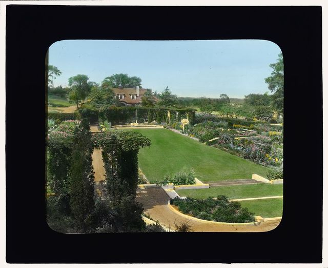 [Arnold Schlaet house, Campo Point, Saugatuck, Connecticut. View from house to sunken garden]