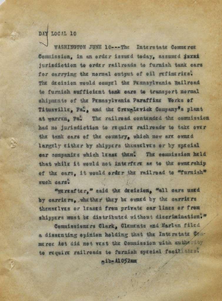 Associated Press, Washington, D.C., Bureau News Dispatches: 1915, June