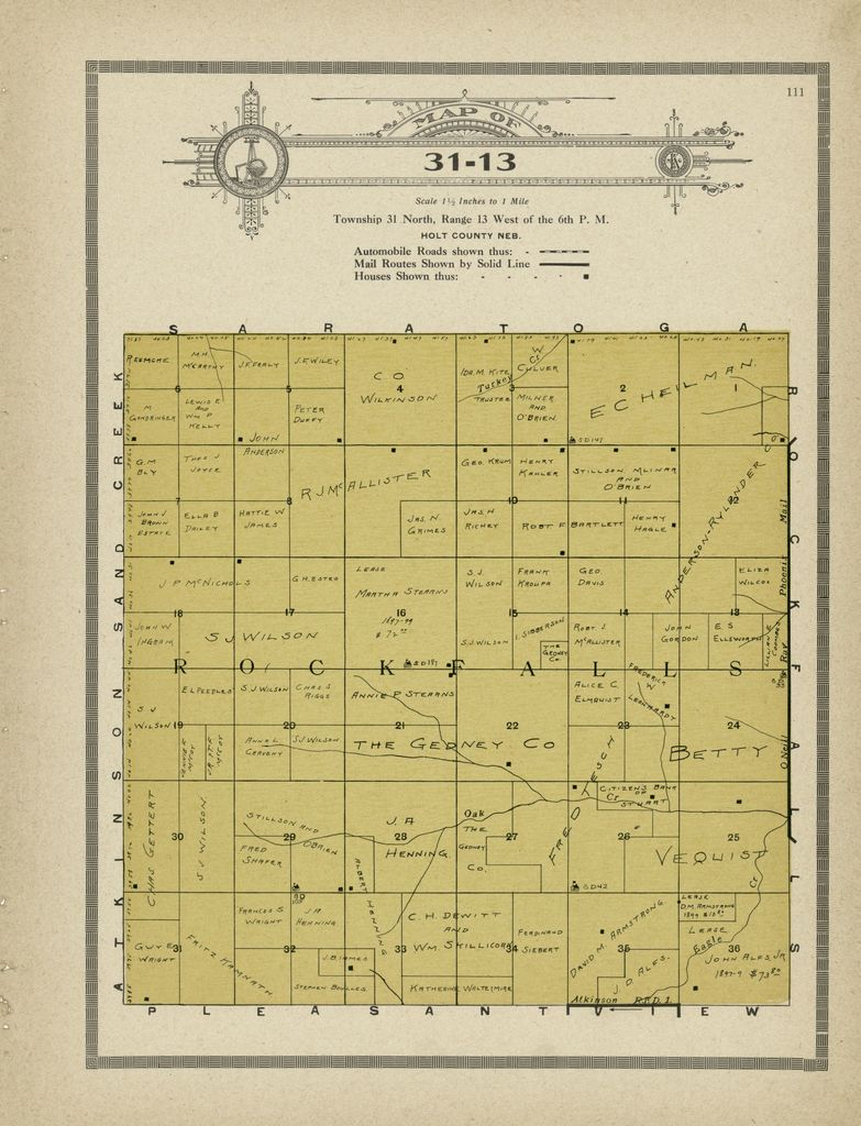 Atlas and plat book of Holt County, Nebraska : containing outline map of the county, plats of all the townships with owners' names, plats of all towns in the county, also state map and United States map : compiled from latest data on record.