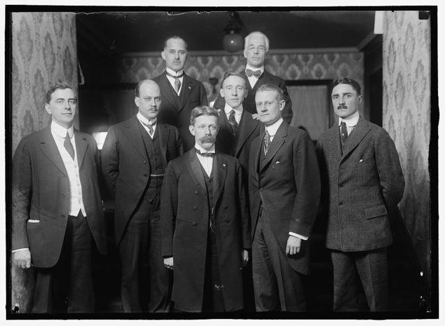 BARRETT, JOHN. DIRECTOR GENERAL, PAN AMERICAN UNION, 1907-1920. UNIDENTIFIED GROUP, ON ENTRANCE STAIRWAY OF HIS RESIDENCE; 12 MEN, 3 WOMEN, CHILD