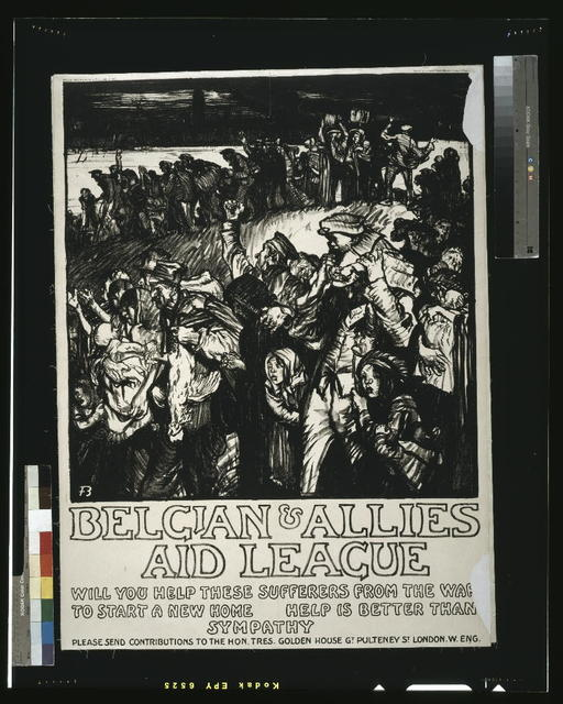 Belgian & Allies Aid League. Will you help these sufferers from the war to start a new home. Help is better than sympathy / Frank Brangwyn, A.R.A., del et lith ; printed by the Avenue Press Ltd., Bouverie Street, London, E.C. England.