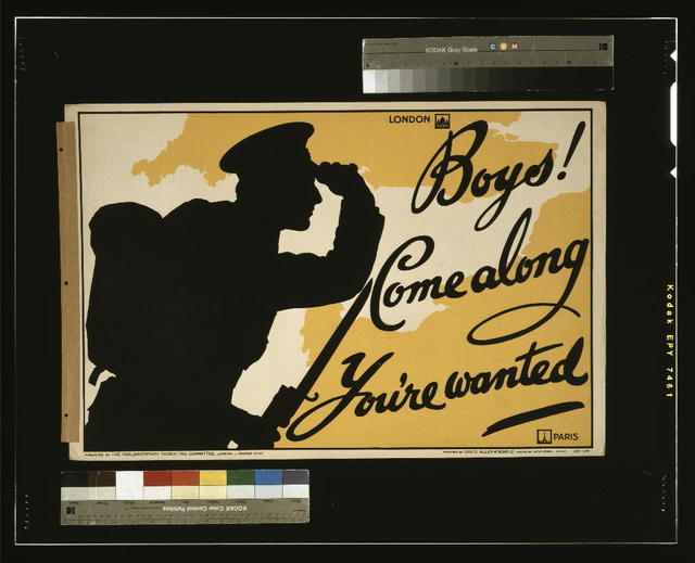 Boys! Come along, you're wanted / printed by David Allen & Sons Ld., Harrow, Middlesex.