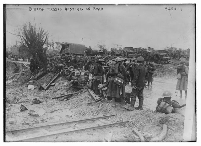British troops resting on road