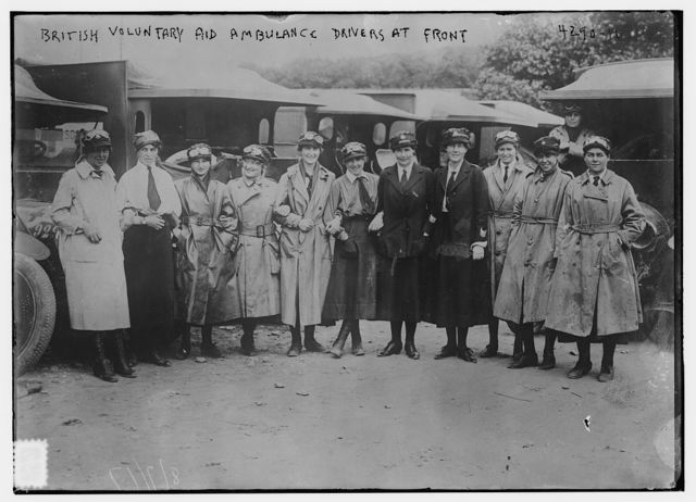 British Voluntary Aid ambulance drivers at front
