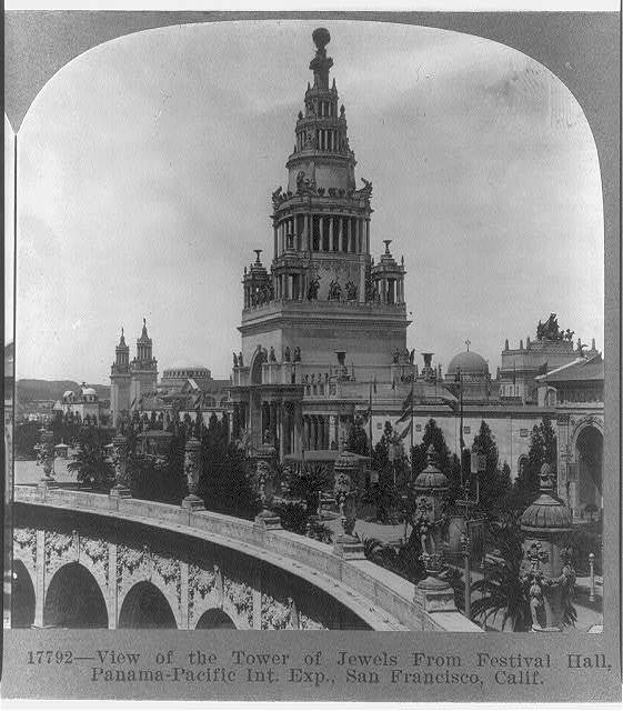 California, San Francisco. Panama-Pacific Int. Exp. View of Tower of Jewels from Festival Hall