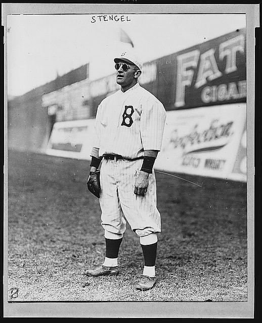 [Casey Stengel, full-length portrait, wearing sunglasses, while playing outfield for the Brooklyn Dodgers]