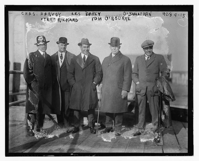 """Chas. Harvey, Les Darcy, O'Sullivan, """"Tex"""" Rickard, Tom O'Rourke"""