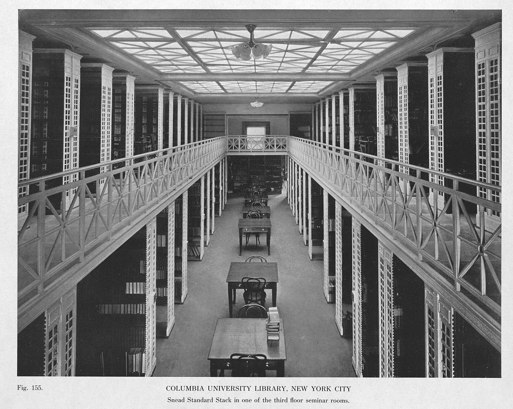 Columbia University Library, New York City. Snead Standard Stack in one of the third floor seminar rooms (fig. 155)