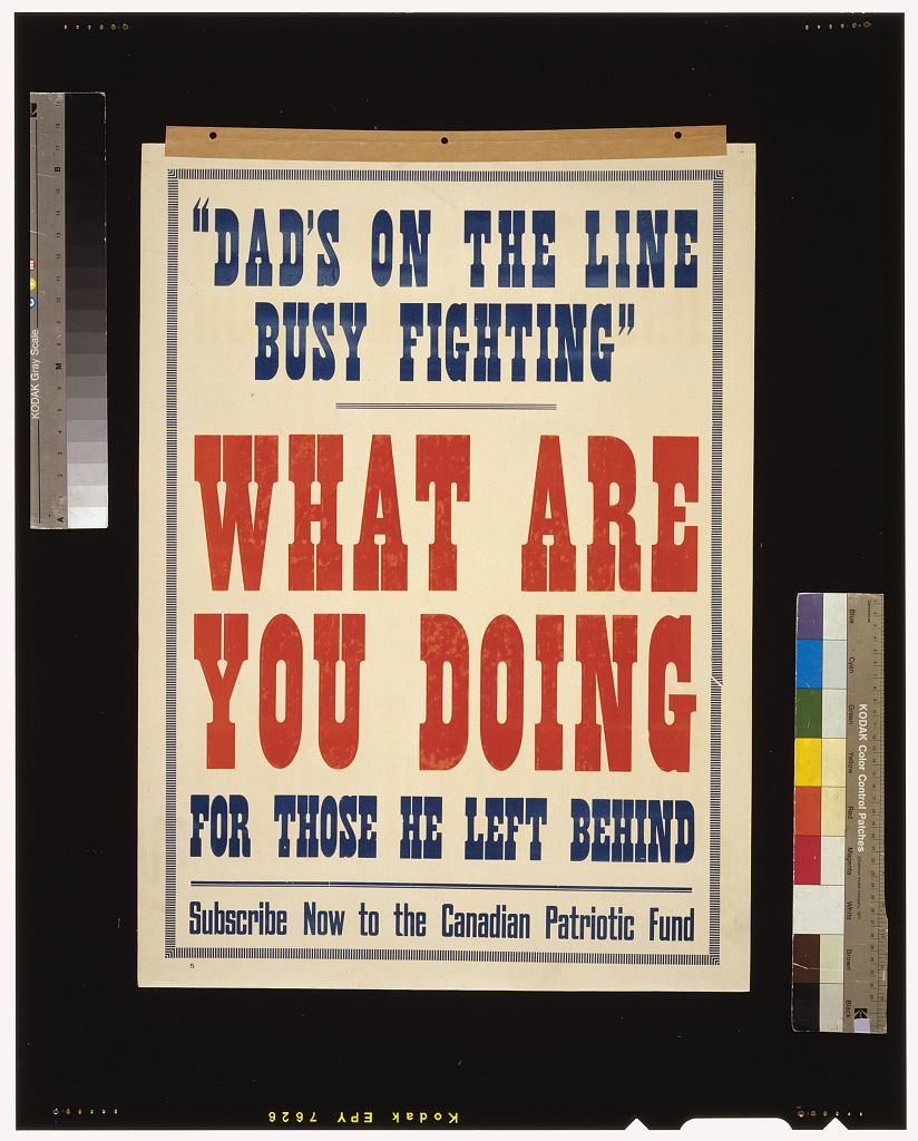 """""""Dad's on the line busy fighting."""" What are you doing for those he left behind. Subscribe now to the Canadian Patriotic Fund"""