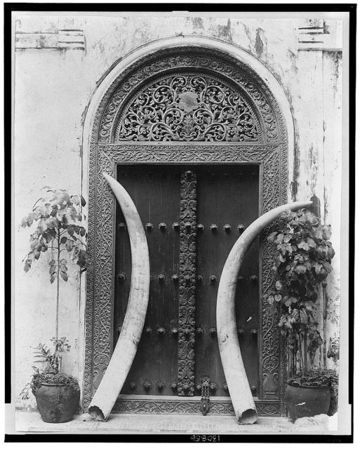 [Doorway and ivory tusks]