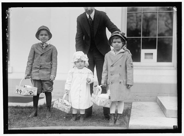 EASTER. CHILDREN OF RODIER, WHITE HOUSE TELEGRAPH OPERATOR, READY FOR EGG ROLLING
